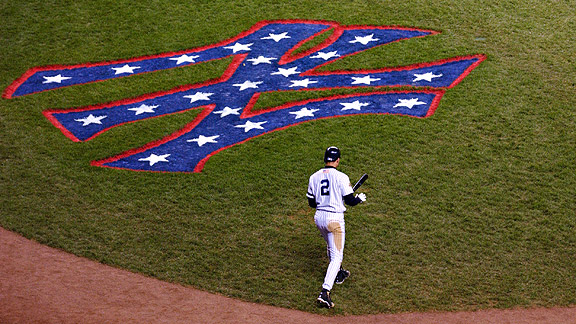 Derek Jeter during the 2001 World Series at Yankee Stadium