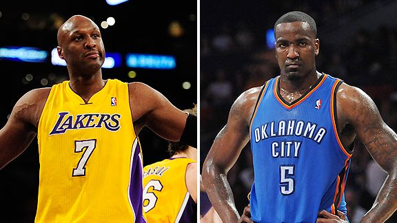 Lamar Odom and Kendrick Perkins