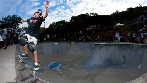 Pedro Barros locks into a Smith grind and takes it through the corner of his hometown bowl in Brazil.