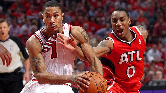Derrick Rose, left, carried to Bulls to a Game 5 win over the Hawks, giving Chicago a 3-2 series lead.