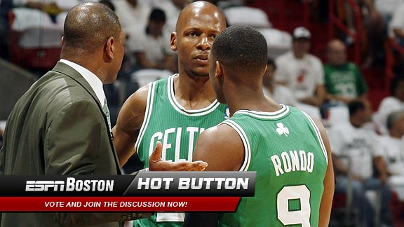 Doc Rivers,Ray Allen and Rajon Rondo