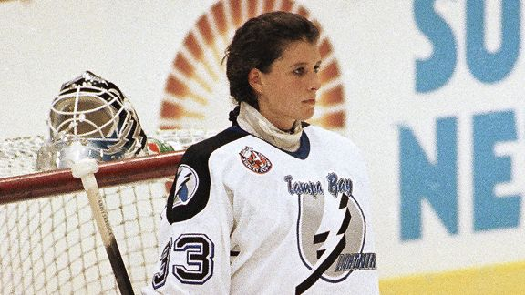 Manon Rheaume before the Tampa Bay Lightning-St. Louis Blues game in 1992