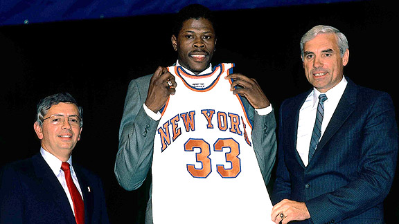 David Stern, Patrick Ewing and Dave DeBusschere at the 1985 NBA Draft
