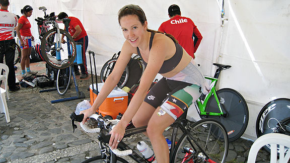 Kathryn Bertine warms up for her South American races, where she posted her top finishes to date.