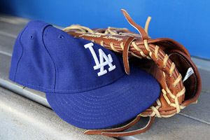 Dodgers hat and glove