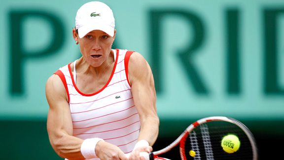 Argentine ace Gisela Dulko ousted last year's French Open finalist, Samantha Stosur, on Friday, a day after becoming a first-time aunt to her brother's twins.