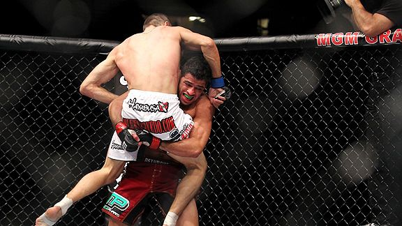 Swept off his feet: Renan Barao spoiled Cole Escovedo's UFC debut.