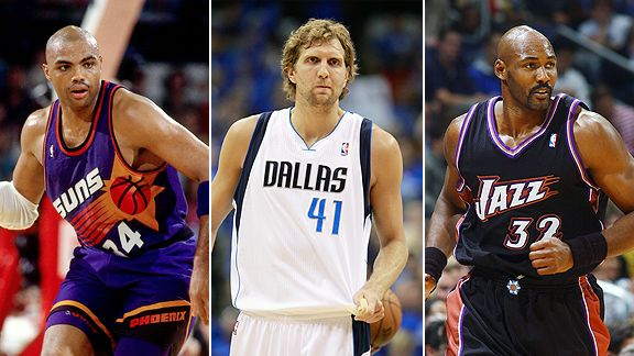 Charles Barkley, Dirk Nowitzki and Karl Malone