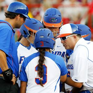 Florida softball huddle