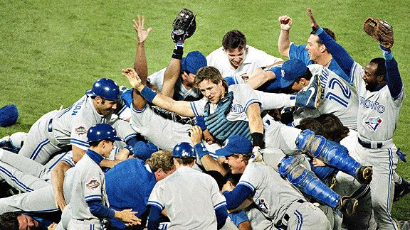 Blue Jays celebrate their 1992 World Series title against the Atlanta Braves