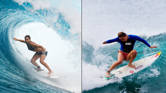 If this is the most exciting year in women's pro surfing, most of that credit has to go to Carissa Moore (right) and Sally Fitzgibbons (left), who sit first and second in the ratings, respectfully.