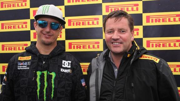 Ken Block with Paul Hembery, Motosport Director for Pirelli.