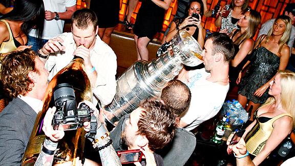 Bruins Drink From Cup