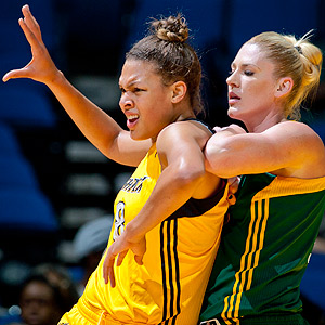 Liz Cambage, left, and fellow Australian Lauren Jackson will likely face off many times in the future.