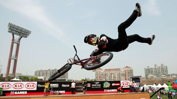 Chad Kagy on the vert ramp during the Asian X Games in Shanghai, China in May.