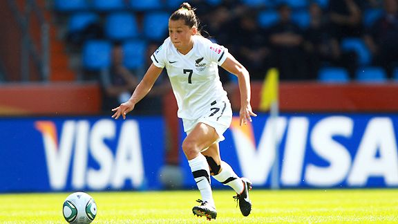 New Zealand defender Ali Riley in Group B action against Japan.