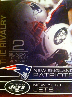 October 9, 2011 ticket for the Jets vs. Patriots