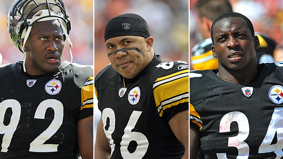 James Harrison, Hines Ward and Rashard Mendenhall