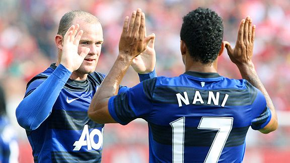 Nani and Wayne Rooney