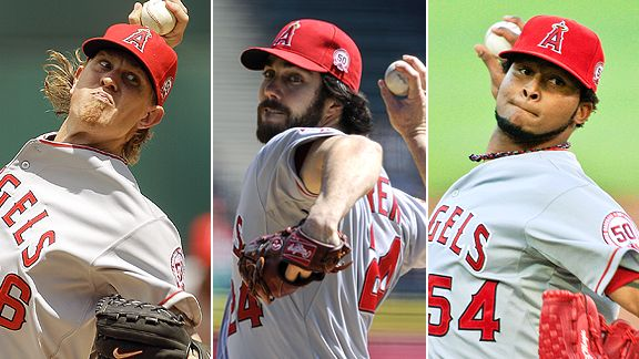 Jered Weaver, Dan Haren and Ervin Santana