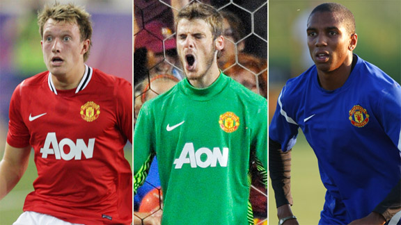 Phil Jones, David de Gea, Ashley Young