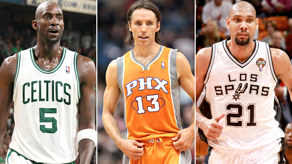 Kevin Garnett, Steve Nash and Tim Duncan