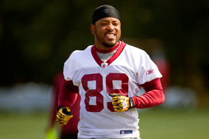 AP Photo/Evan Vucci Santana Moss returns, but the receiver depth chart