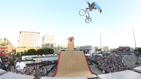 Kagy floats a flair whip during a practice session before the final BMX Big Air event at X17.