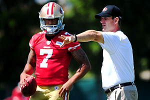 San Francisco's Colin Kaepernick and Jim Harbaugh