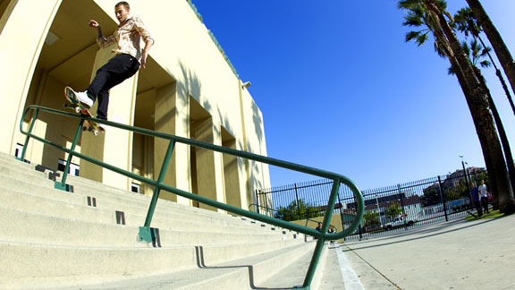 Nick Trapasso, seen here with a stylish frontside boardslide, has left Toy Machine to start his own company.