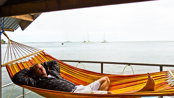 Rainy day, dream away. CJ Hobgood contently waiting for better days.