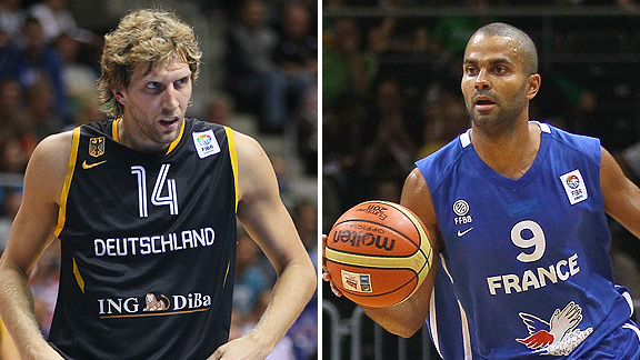 Dirk Nowitzki and Tony Parker