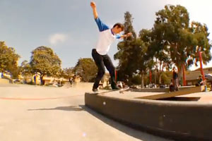 Austyn Gillette front blunt transfers to fakie in the midst of a speedy line through Stoner Park.