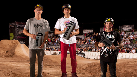 From left to right: Dennis Enarson, Brett Banasiewicz and Brandon Dosch topped the BMX dirt podium at the Dew Tour Toyota Challenge in Salt Lake City, Utah.