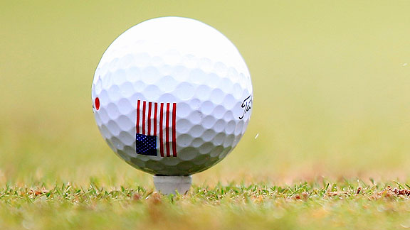 American flag golf ball