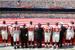 Scenes like this from the Falcons-Bears game were seen around the NFL and other sports venues on the 10th anniversary of 9/11.