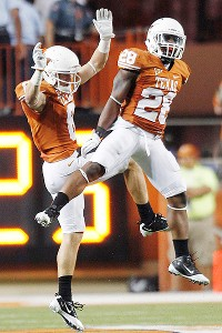 Receiver Jaxon Shipley (left) and cornerback Quandre Diggs started as freshmen for Texas last season.