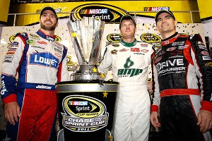 Dale Earnhardt Jr.with Jimmie Johnson and Jeff Gordon