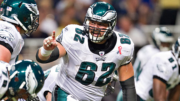 Rookie sixth-rounder Jason Kelce has earned a spotting spot on Philadelphia's offe
