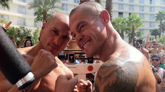 Dave Mirra and Brian Deegan at the weigh-in for EllisMania 8 on Friday.