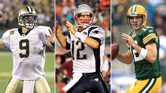 Drew Brees, Tom Brady, Aaron Rodgers