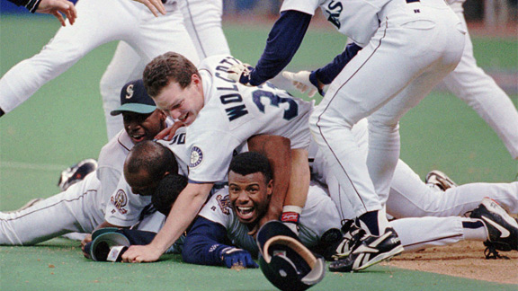 Ken Griffey Jr.'s series-clinching run capped the Mariners' third straight win after being down 0-2 in the ALDS.