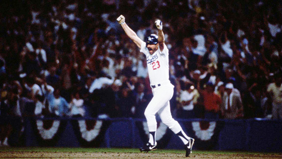 Kirk Gibson hit homers in his final two World Series at-bats -- off Goose Gossage in 1984 and Dennis Eckersley in 1989.
