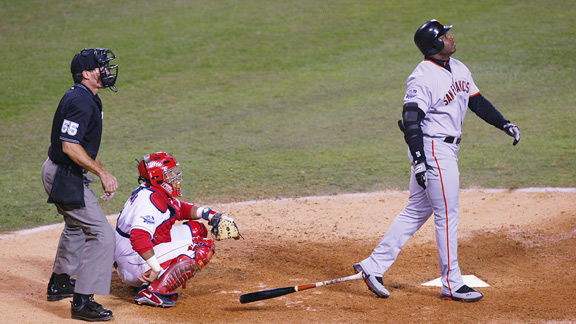 The Giants hit four home runs, but none as majestic as Barry Bonds' bomb off Troy Percival in the ninth.