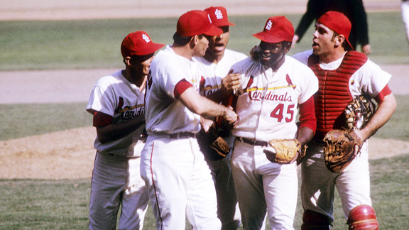 Bob Gibson struck out six and walked one in beating the Red Sox for the second of three times in the Series.