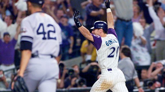 Luis Gonzalez took advantage of the Yankees' drawn-in infield to send Arizona to its first title.