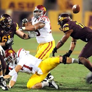 Matt Barkley fumbles the ball