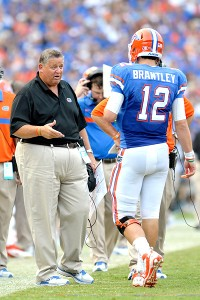 Charlie Weis and John Brantley 