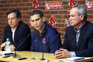 Tom Werner, Larry Lucchino and Theo Epstein