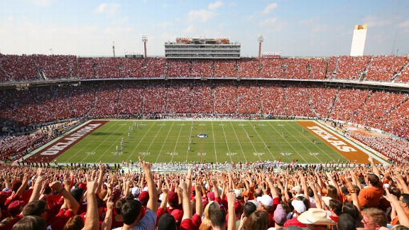 The Red River Rivalry at the Cotton Bowl, between the Oklahoma Sooners and Texas Longhorns